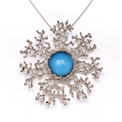 Coral Flower Blue Topaz Silver Pendant Necklace