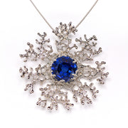 Coral Flower Sapphire Silver Pendant Necklace