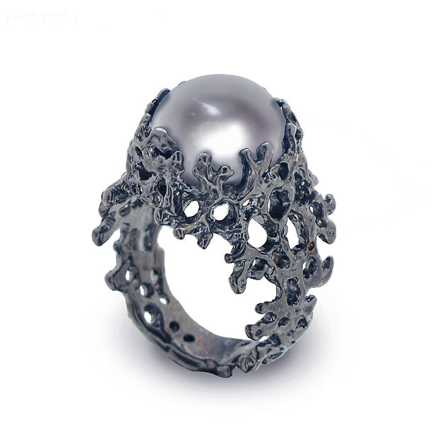 Coral Gray Pearl Wide Black Ring