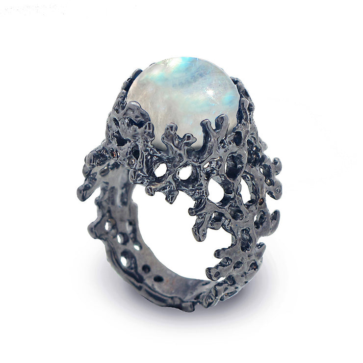 Coral Moonstone Black Ring