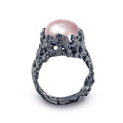 Coral Pink Pearl Wide Black Ring