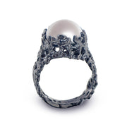 Coral Pearl Wide Black Ring