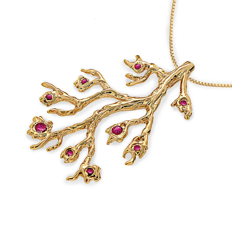 Branch Red Rubies Gold Pendant Necklace