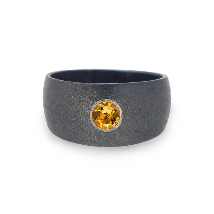 Point Citrine Black Band Ring