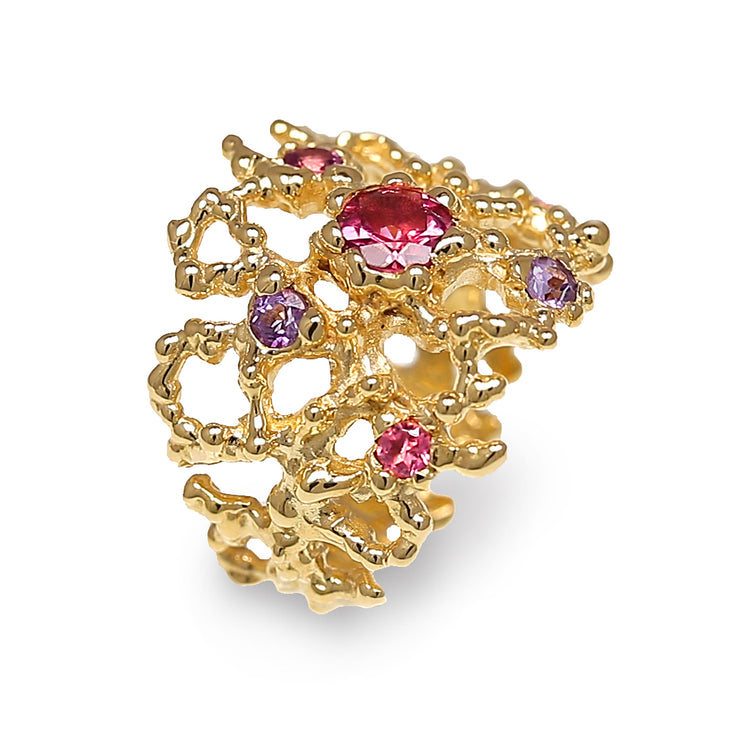Coral Pink Tourmaline and Amethyst Gold Band Ring