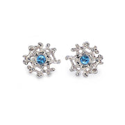 Coral Blue Topaz Earrings