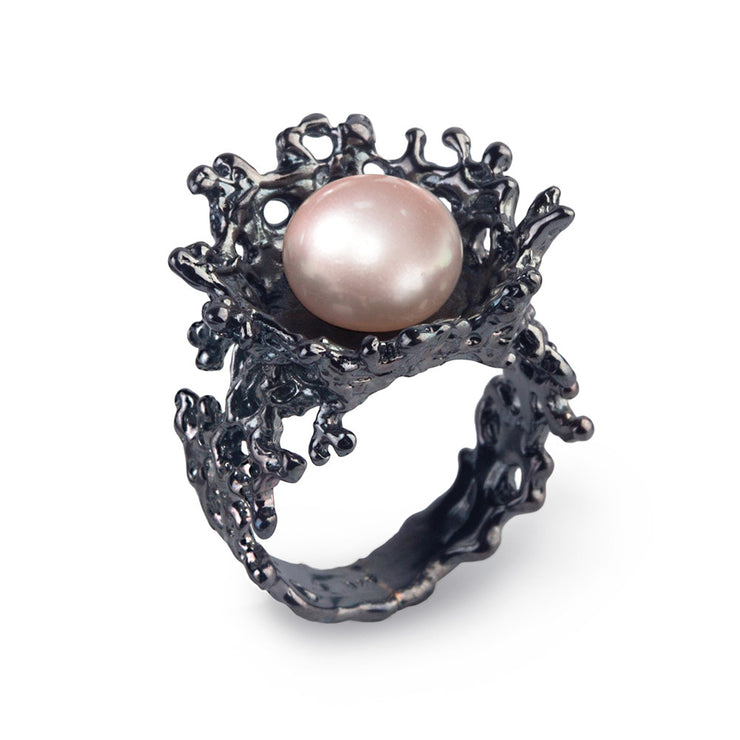 Coral Flower Pink Pearl Black Ring