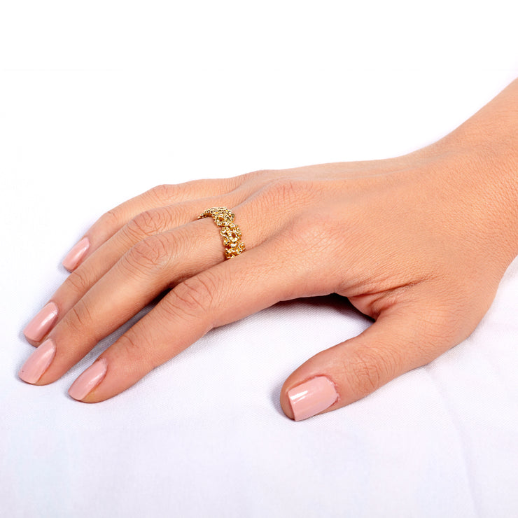 Coral Solid Gold Wedding Band Ring