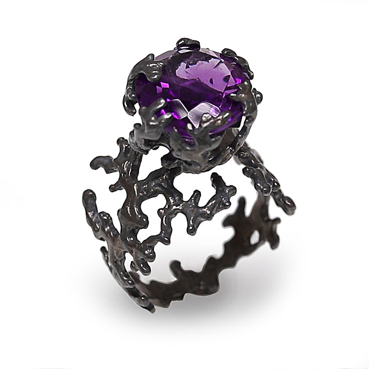 Coral Amethyst Black Ring
