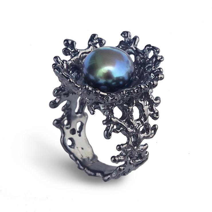 Coral Flower Black Pearl Black Ring