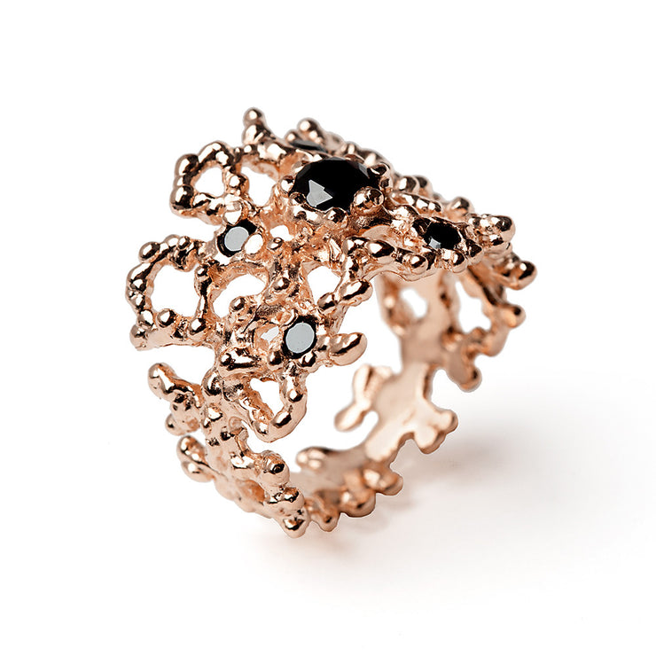 Coral Black Gemstone Rose Gold Band Ring