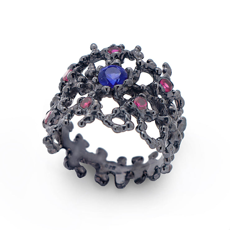 Coral Sapphire and Rubies Black Band Ring