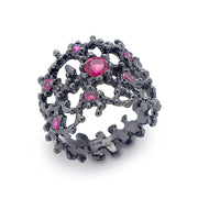 Coral Ruby Black Band Ring