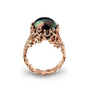Coral Black Pearl Wide Rose Gold Ring