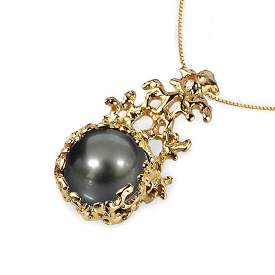 Coral Tahitian Pearl Gold Pendant Necklace