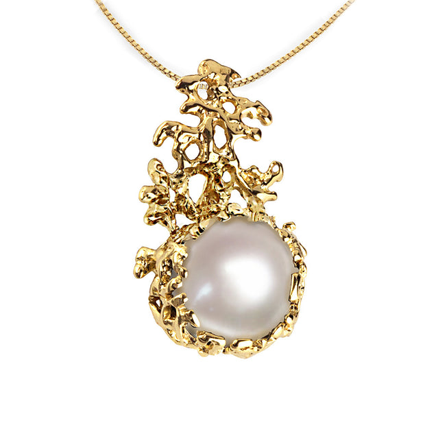 Coral Pearl Gold Pendant Necklace