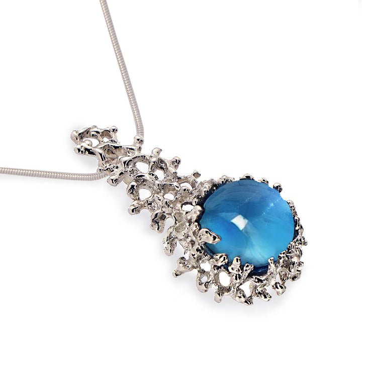 Coral Blue Topaz Pendant Necklace
