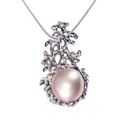 Coral Pink Pearl Pendant Necklace