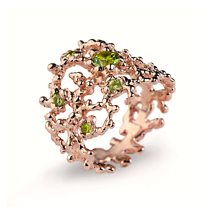 Coral Peridot Rose Gold Band Ring