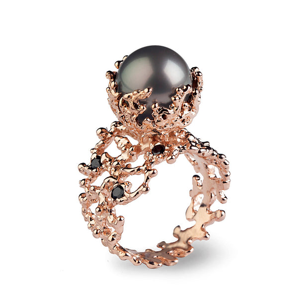 Coral Tahitian Pearl Diamond Rose Gold Ring