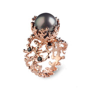 Coral Tahitian Pearl Black Diamond Rose Gold Ring
