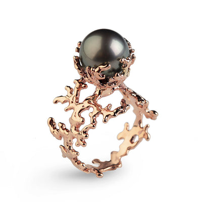 Coral Tahitian Pearl Rose Gold Ring