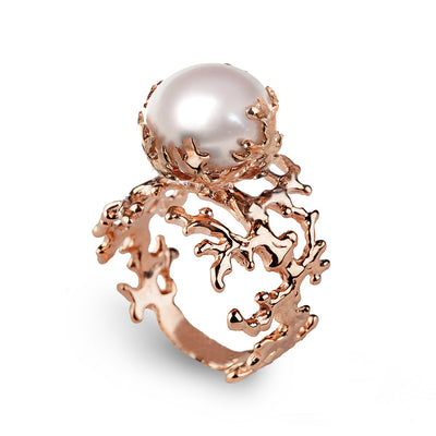 Coral Pearl Rose Gold Ring