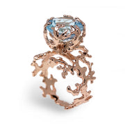 Coral Sky Blue Topaz Rose Gold Ring