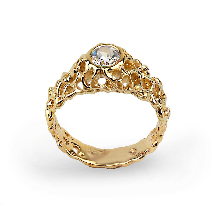 Coral Gold Cubic Zirconia CZ Solitaire Ring