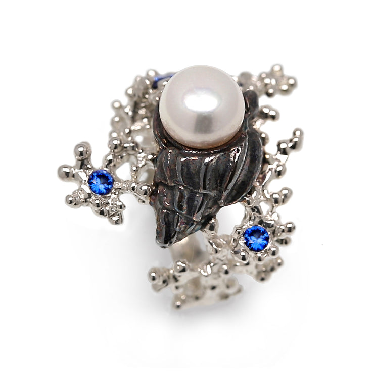 Coral Starfish Seashell Pearl and Sapphire Ring