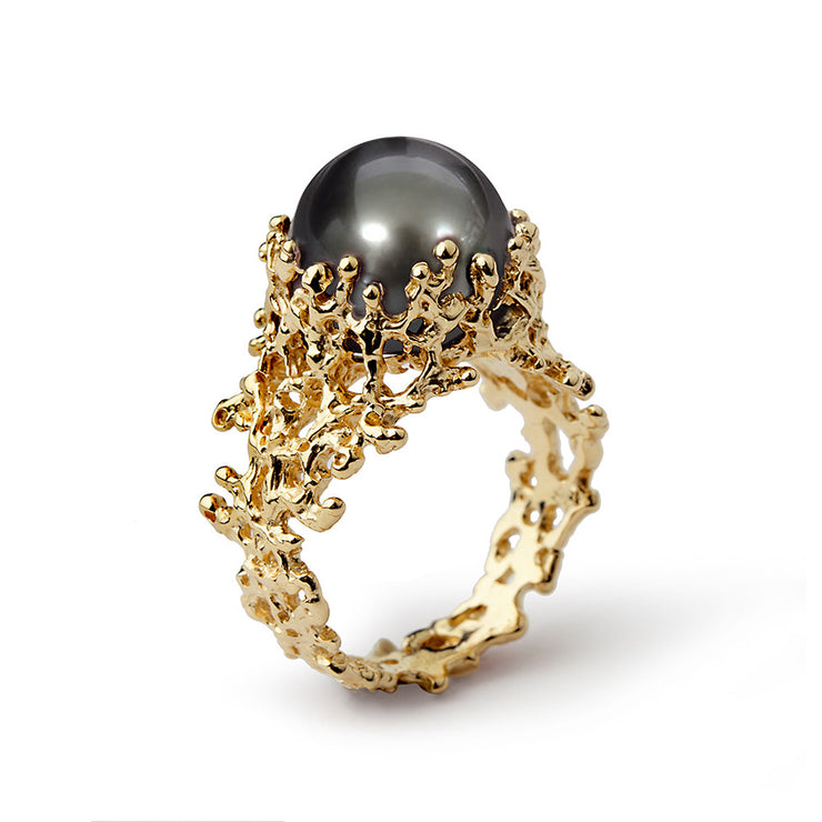 Coral Tahitian Pearl Wide Gold Ring