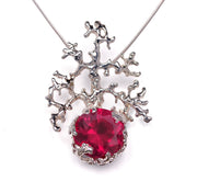 Coral Ruby Pendant Necklace