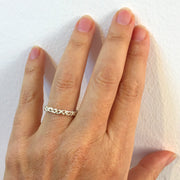 Coral Thin Wedding Band Ring