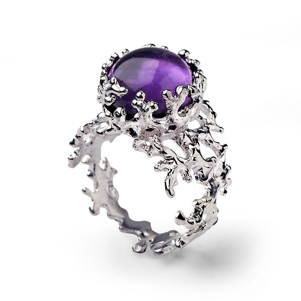 Coral Amethyst Cabochon Ring