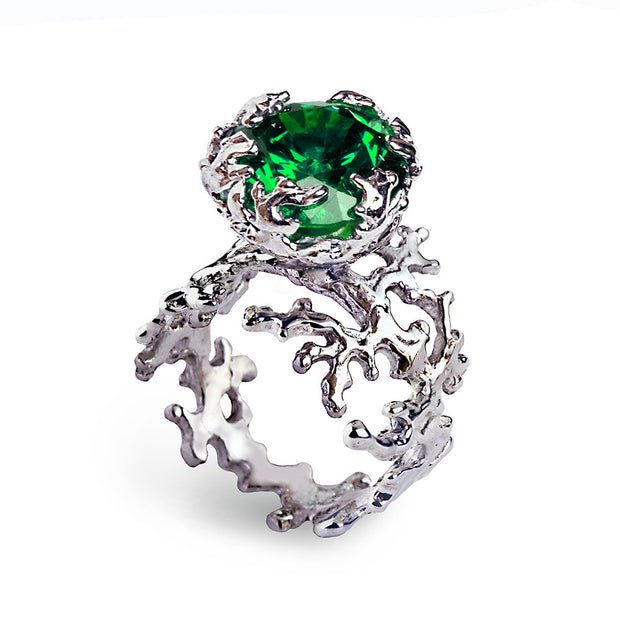 Coral Emerald Ring