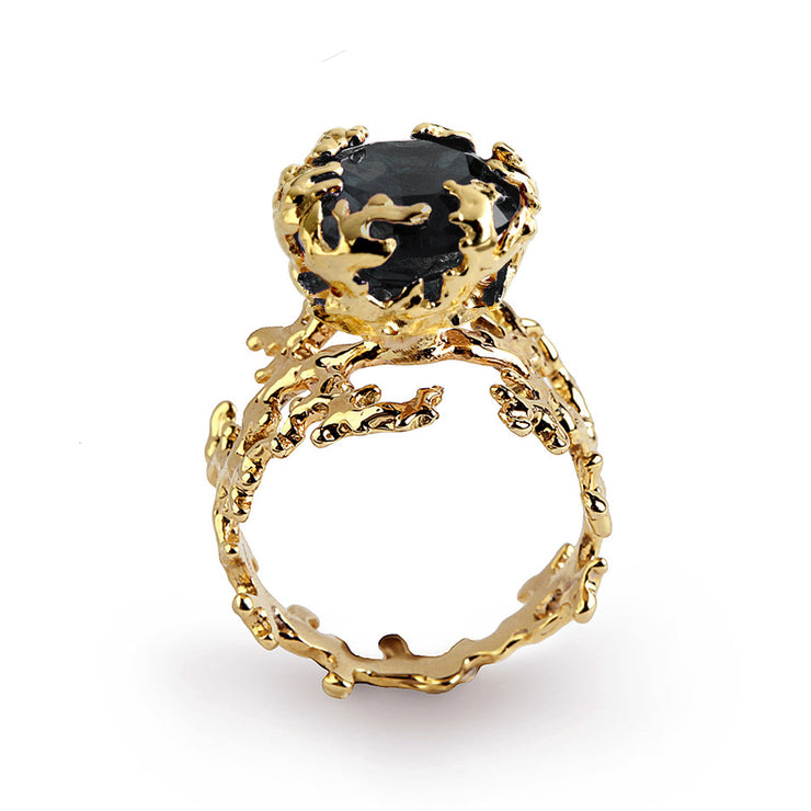 Coral Black Gemstone Gold Ring