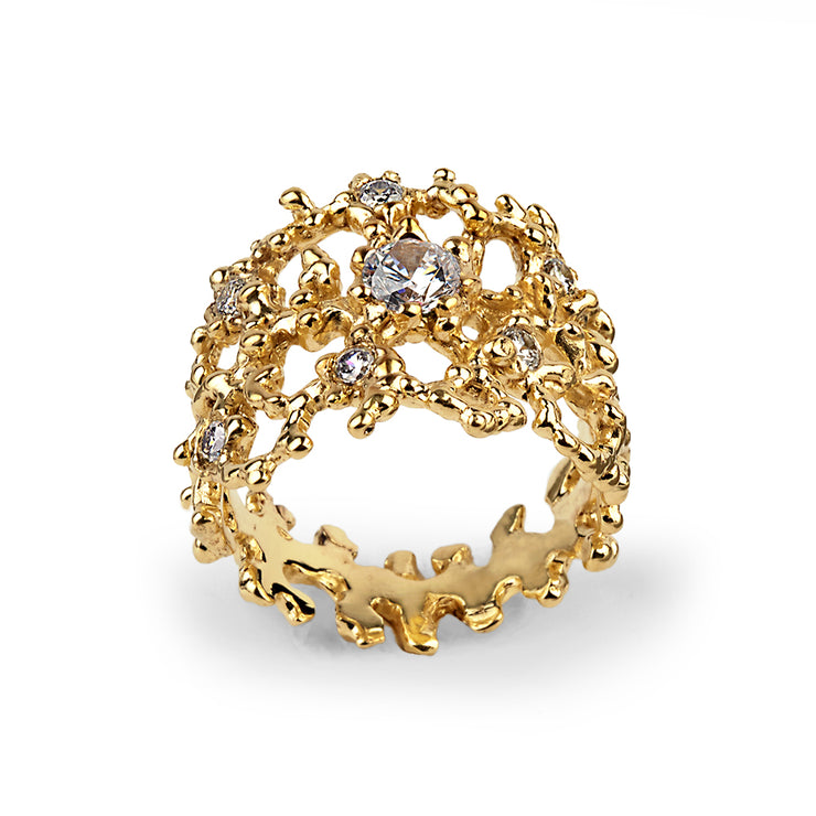 Coral Cubic Zirconia CZ Gold Band Ring
