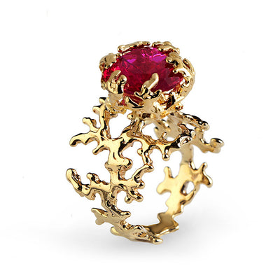 Coral Ruby Gold Ring