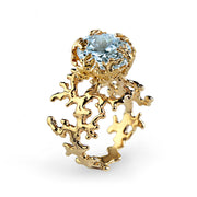 Coral Sky Blue Topaz Gold Ring