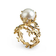 Coral Pearl Gold Ring