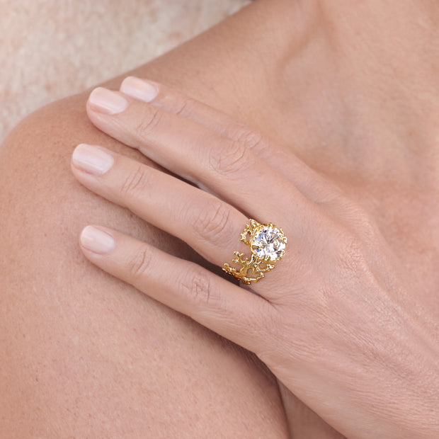 Coral Cubic Zirconia CZ Gold Ring