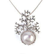 Coral White Pearl Pendant Necklace