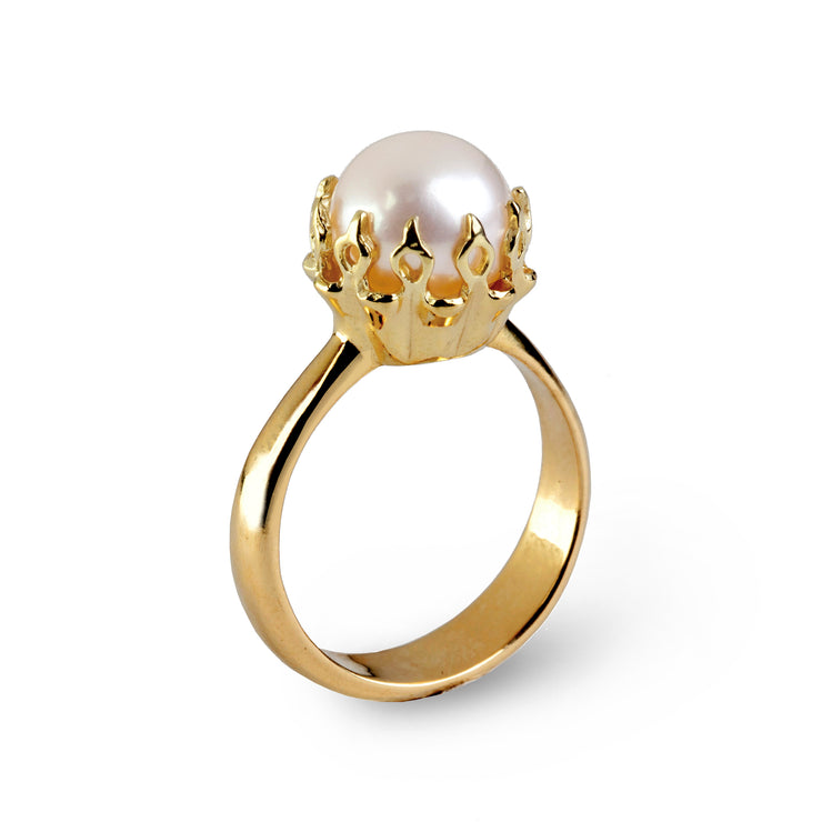 Crown Gold Pearl Ring