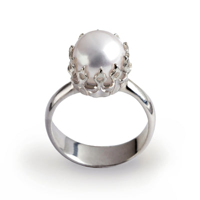 Crown Silver Pearl Ring