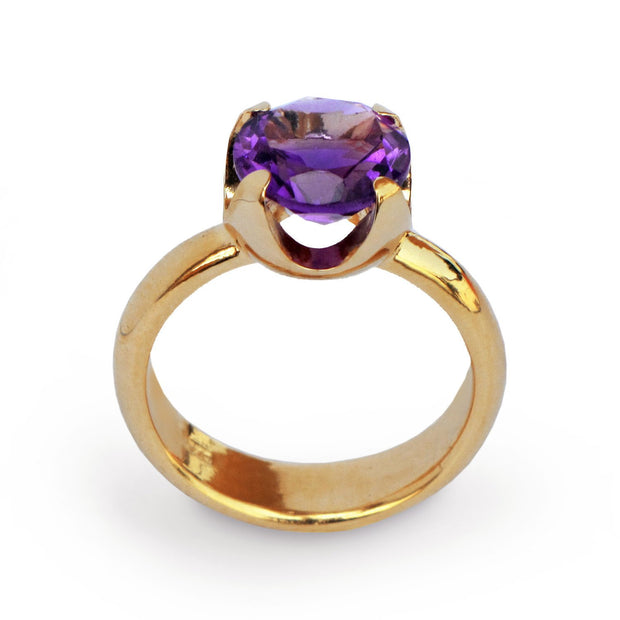 Cup Amethyst Gold Ring