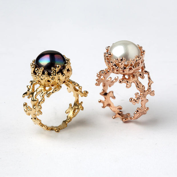 Coral Black Pearl Rose Gold Ring