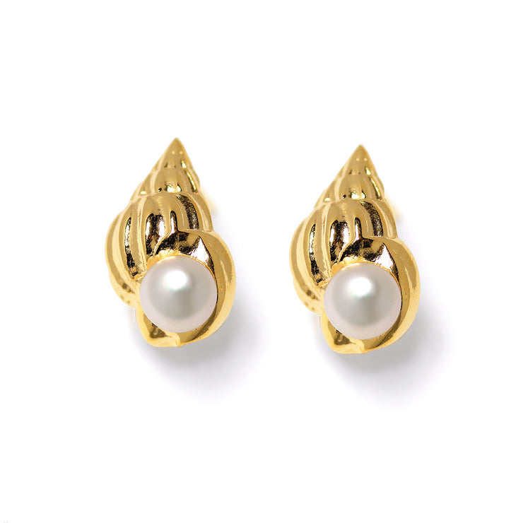 Seashell Pearl Gold Stud Earrings