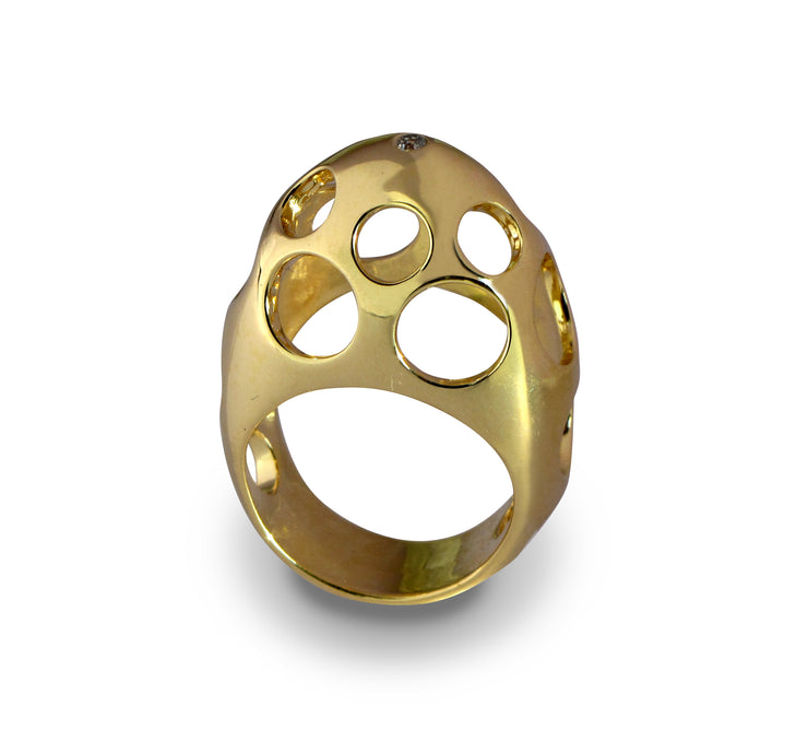 Egg Bubbles Gold Ring