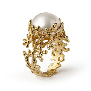 Coral Pearl Wide Gold Ring