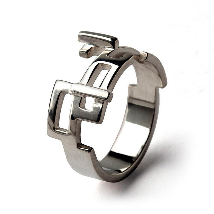 Circuits Men's Silver Band Ring